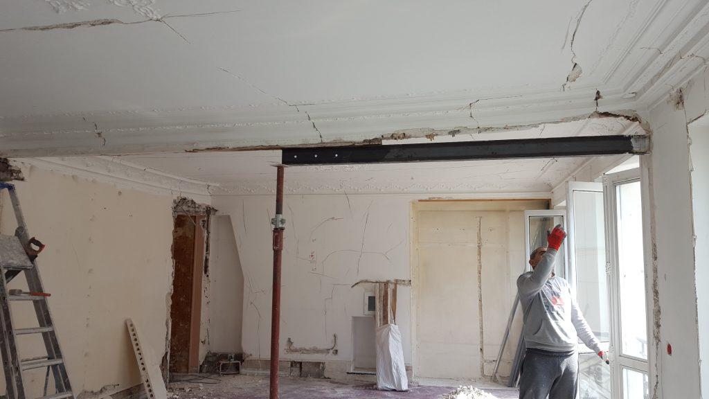 Pose d'un IPN après suppresssion d'un mur porteur